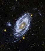 Galaxie M 81 na snímku z ultrafialové družice GALEX.