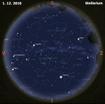 mapa oblohy pro 48. týden 2010, zdroj: Stellarium