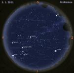 Mapa oblohy pro 1. týden 2011, zdroj: Stellarium