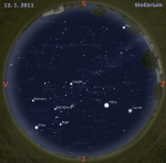 Mapa oblohy pro 2. týden 2011, zdroj: Stellarium