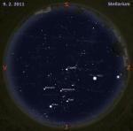 Mapa oblohy pro 6. týden 2011, zdroj: Stellarium