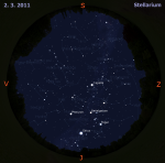 Mapa oblohy pro 9. týden 2011, zdroj: Stellarium