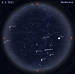 Mapa oblohy pro 10. týden 2011, zdroj: Stellarium