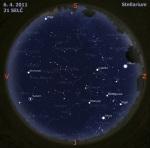 Mapa oblohy pro 14. týden 2011, zdroj: Stellarium