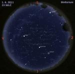 Mapa oblohy 1. 6. 2011, zdroj: Stellarium