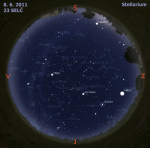Mapa oblohy 8. 6. 2011, zdroj: Stellarium