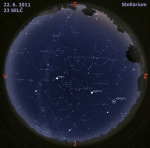 Mapa oblohy 22. 6. 2011, zdroj: Stellarium
