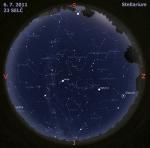 Mapa oblohy 6. 7. 2011, zdroj: Stellarium
