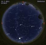 Mapa oblohy 13. 7. 2011, zdroj: Stellarium