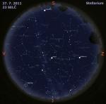 Mapa oblohy 27. 7. 2011, zdroj: Stellarium
