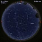 Mapa oblohy 3. 8. 2011, zdroj: Stellarium