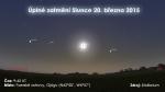 Úplné zatmění Slunce 20. března 2015 na Faerských ostrovech. Zdroj: Stellarium.