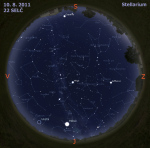Mapa oblohy 10. 8. 2011, zdroj: Stellarium