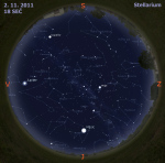 Mapa oblohy 2. 11. 2011, zdroj: Stellarium
