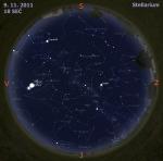 Mapa oblohy 9. 11. 2011, zdroj: Stellarium