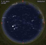 Mapa oblohy 7. 12. 2011, zdroj: Stellarium