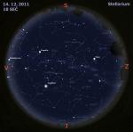Mapa oblohy 14. 12. 2011, zdroj: Stellarium