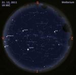 Mapa oblohy 21. 12. 2011, zdroj: Stellarium