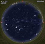 Mapa oblohy 4. ledna 2012, zdroj: Stellarium
