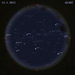 Mapa oblohy 11. ledna 2012, zdroj: Stellarium