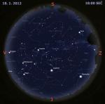 Mapa oblohy 18. ledna 2012, zdroj: Stellarium