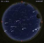 Mapa oblohy 25. ledna 2012, zdroj: Stellarium