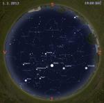 Mapa oblohy 1. února 2012, zdroj: Stellarium