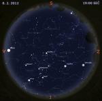 Mapa oblohy 8. února 2012, zdroj: Stellarium