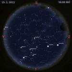 Mapa oblohy 15. února 2012, zdroj: Stellarium