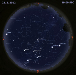 Mapa oblohy 22. února 2012. Data: Stellarium