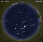 Mapa oblohy 29. února 2012. Data: Stellarium