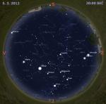 Mapa oblohy 5. března 2012. Data: Stellarium
