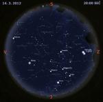 Mapa oblohy 14. března 2012. Data: Stellarium