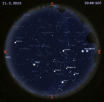Mapa oblohy 21. března 2012. Data: Stellarium
