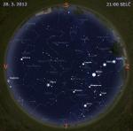 Mapa oblohy 28. března 2012. Data: Stellarium