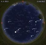 Mapa oblohy 4. dubna 2012 v 21 hodin SELČ. Data: Stellarium