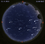 Mapa oblohy 11. dubna 2012 v 21 hodin SELČ. Data: Stellarium