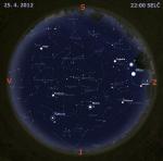 Mapa oblohy 25. dubna 2012 ve 22 hodin SELČ. Data: Stellarium