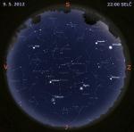 Mapa oblohy 9. května 2012 ve 22 hodin SELČ. Data: Stellarium