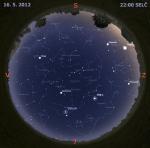 Mapa oblohy 16. května 2012 ve 22 hodin SELČ. Data: Stellarium