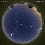 Mapa oblohy 1. srpna 2012 ve 22 hodin SELČ. Data: Stellarium