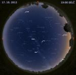 Mapa oblohy 17. října 2012 v 19 hodin SELČ. Data: Stellarium Autor: Martin Gembec
