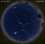 Mapa oblohy 24. října 2012 v 19 hodin SELČ. Data: Stellarium Autor: Martin Gembec