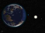 Umělecká představa exoplanety HD 40307 Autor: Planetary Habitability Laboratory