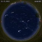 Mapa oblohy 21. listopadu 2012 v 18 hodin SEČ. Data: Stellarium Autor: Martin Gembec