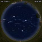 Mapa oblohy 19. prosince 2012 v 18 hodin SEČ. Data: Stellarium Autor: Martin Gembec