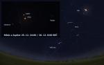 Přiblížení Měsíce a Jupiteru v noci z 25. na 26. prosince 2012. Data: Stellarium Autor: Martin Gembec