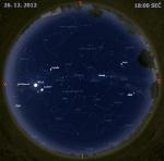 Mapa oblohy 26. prosince 2012 v 18 hodin SEČ. Data: Stellarium Autor: Martin Gembec
