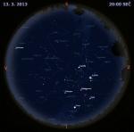Mapa oblohy 13. března 2013 ve 20 hodin SEČ. Data: Stellarium Autor: Martin Gembec