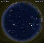 Mapa oblohy 17. dubna 2013 ve 22 hodin SELČ. Data: Stellarium Autor: Martin Gembec